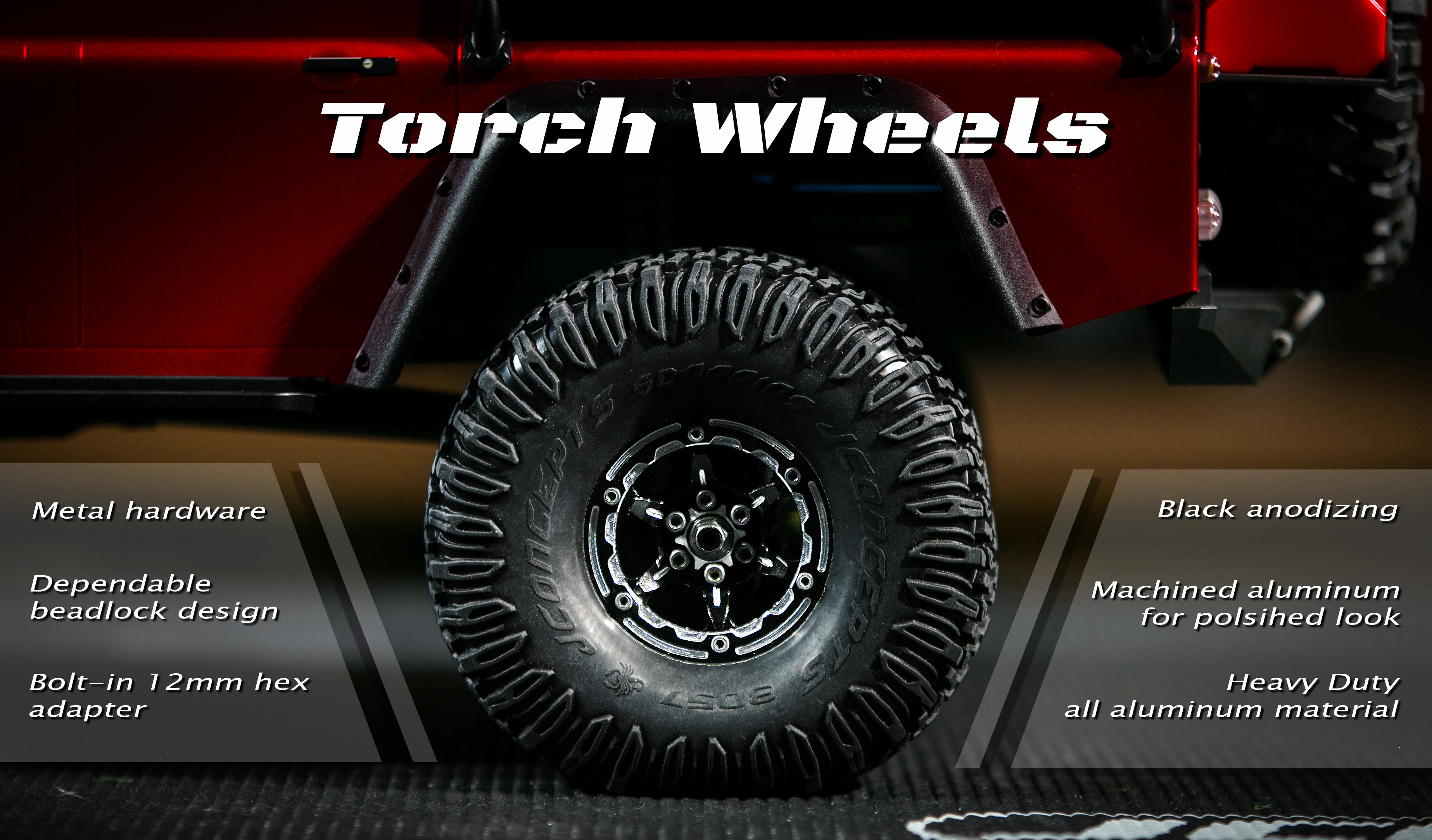 Torch – 1 9″ Traxxas TRX 4 aluminum bead lock wheel set – black – 4pc