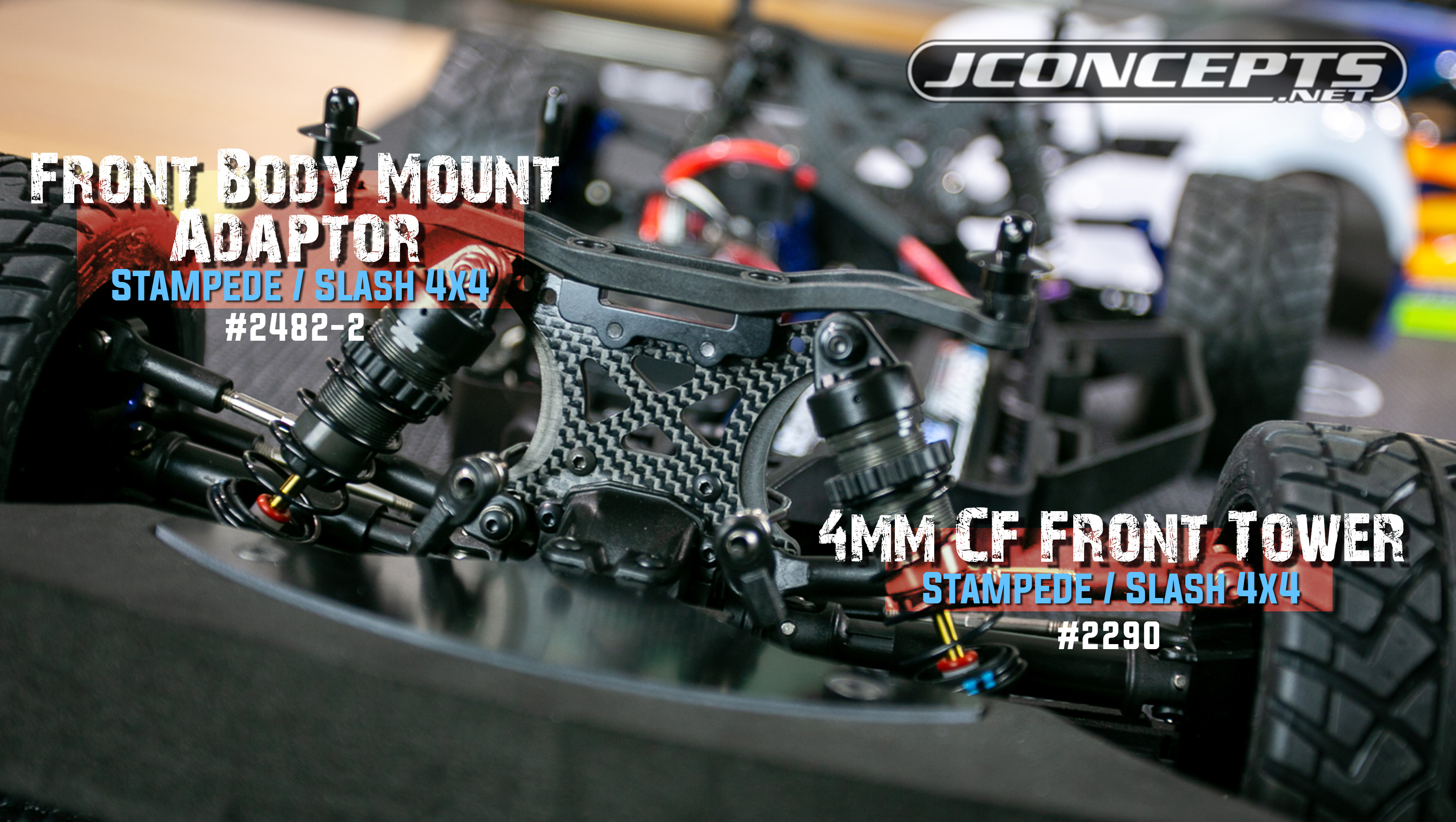 JConcepts Carbon Fiber 4mm Rear Shock Tower Traxxas Slash